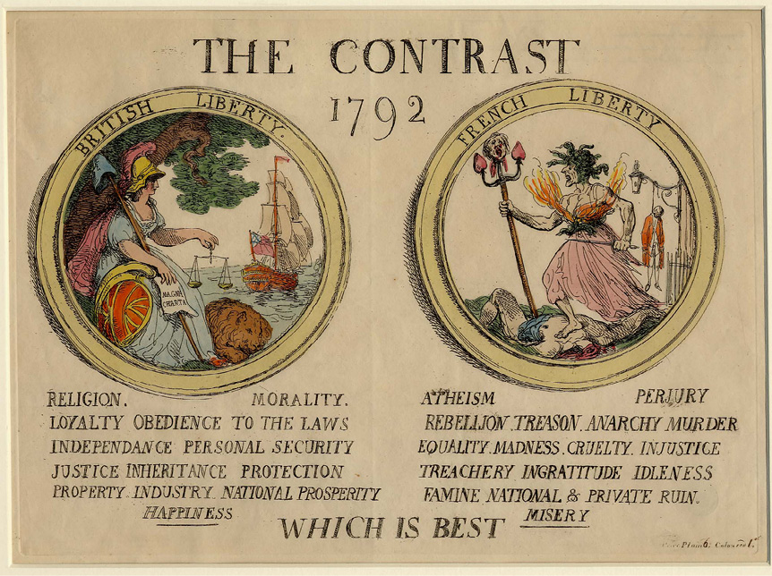 A poster showing the difference between British and French liberty