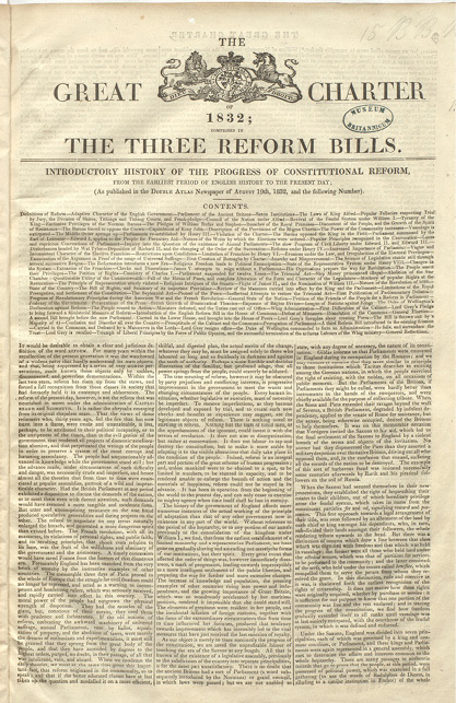 First page of 'The Great Charter of 1832; comprised in the three Reform Bills'