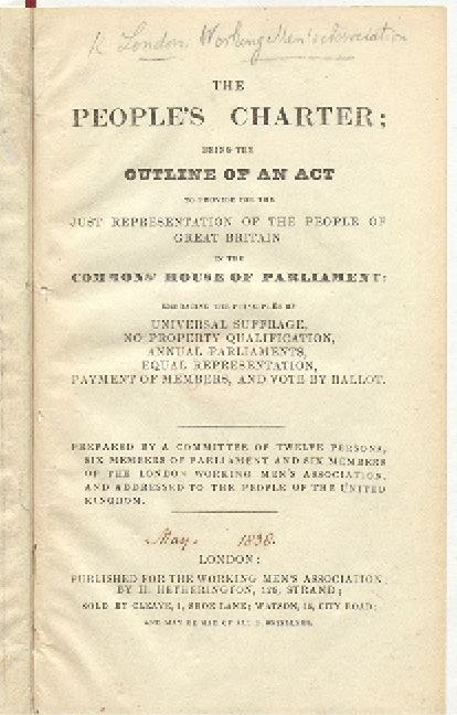 First page of 'The People's Charter'