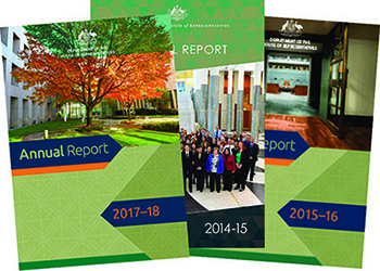 Covers of the department's annual report.