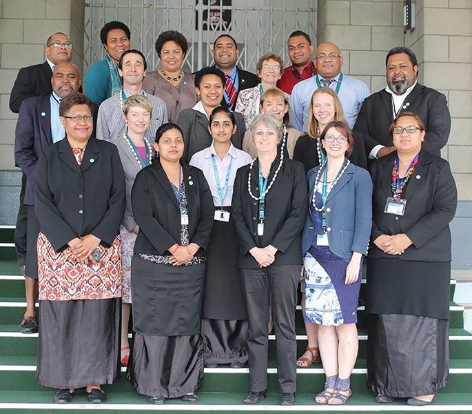 Parliamentary Library researchers with their counterparts from the Victorian, New Zealand and Scottish Parliaments, and the Secretary‑General, Deputy Secretary-General, Director Legislature, managers and research staff of the Fijian Parliament, Suva.