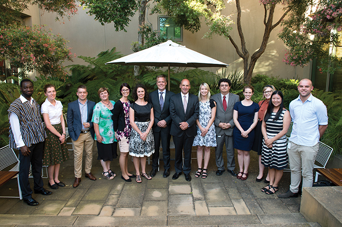 The 2016 Summer Scholars and the Australian Parliamentary Fellow with the Presiding Officers, February 2016