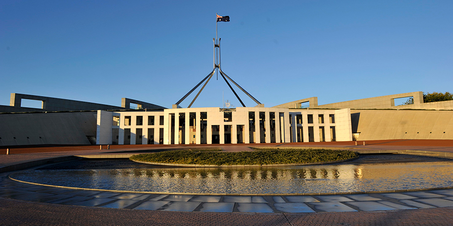 Front of Australian Parliament House.