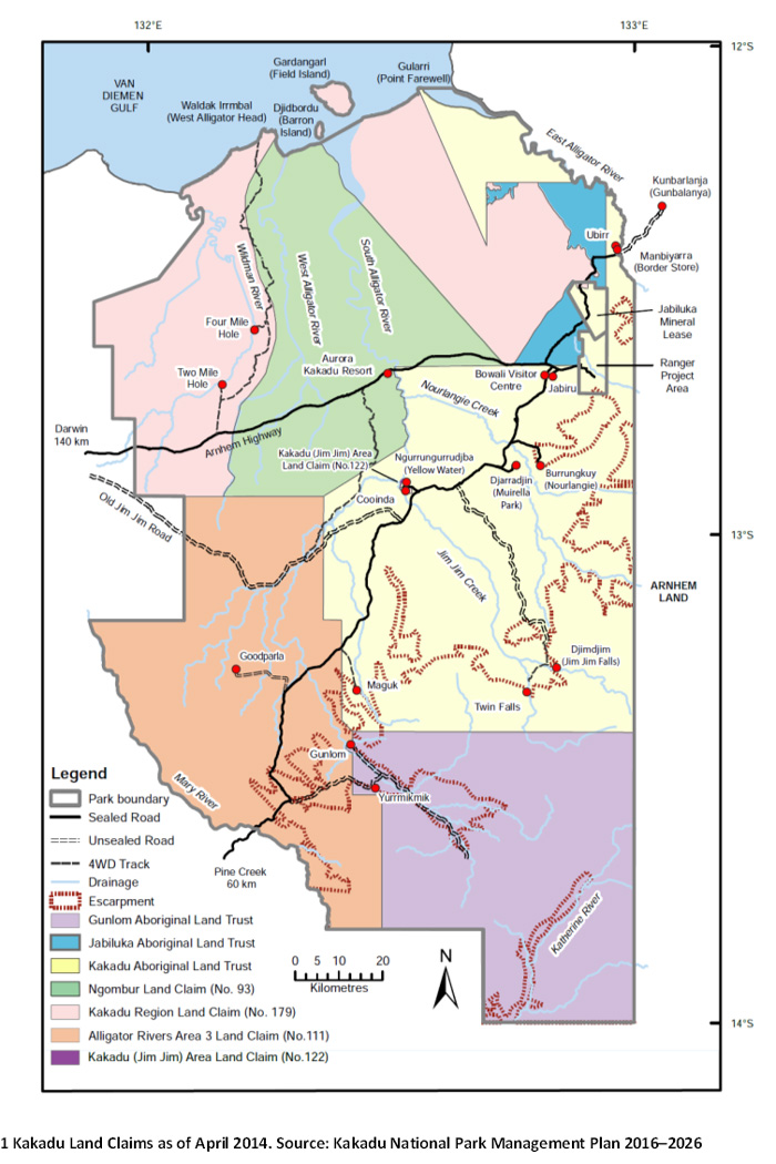Kakadu National Park land claims map