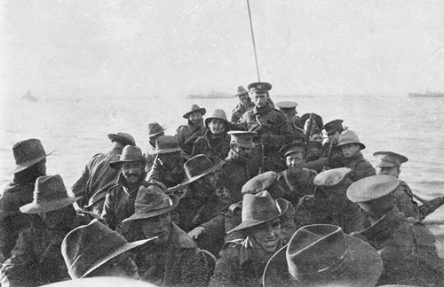 Unidentified men from the 1st Divisional Signal Company being towed towards Anzac Cove on the morning of 25 April 1915.