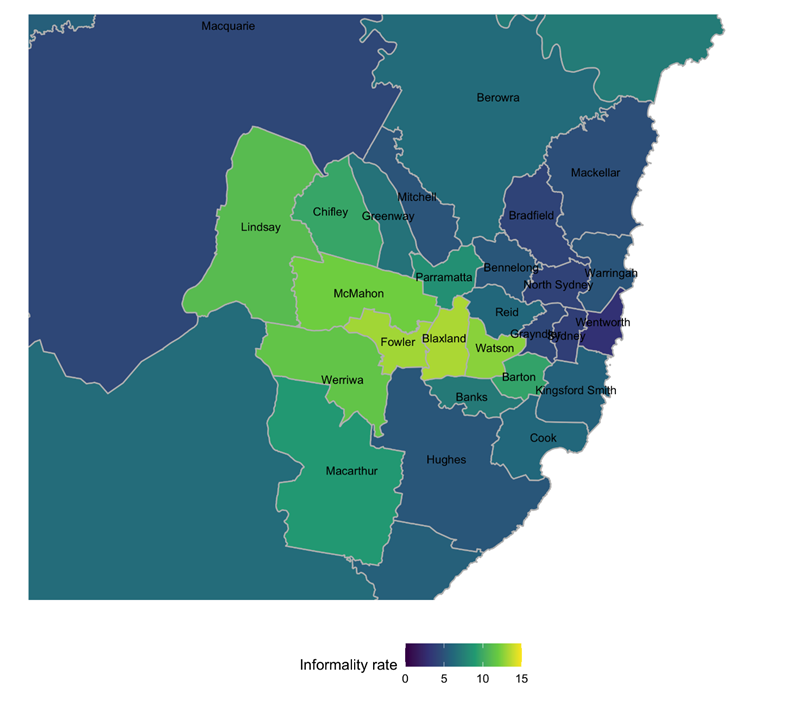 Figure 17: map showing informality rate in Greater Sydney divisions (NSW), 2019 federal election