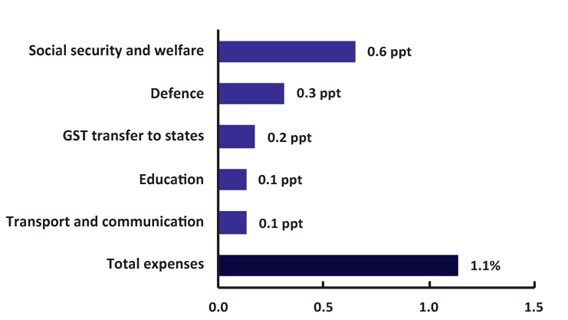 Figure 12 - Contributions to annual real growth in expenses