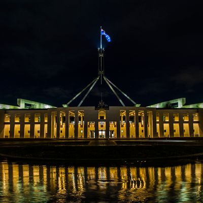 Front of Parliament House at night