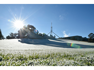 Frost on the Parliament House lawns