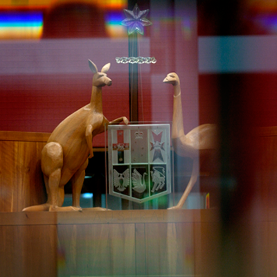 The Australian Coat of Arms in the Senate chamber