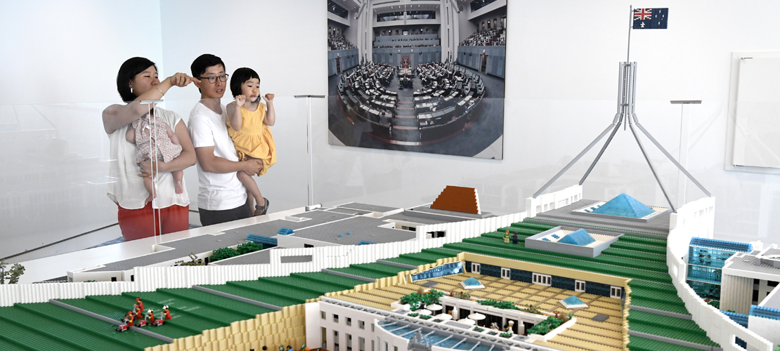 Visitors check out the Lego Parliament House
