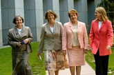 The initiating senators of the RU486 bill after it passed through the House of Representatives: (from left) Claire Moore (Labor), Lyn Allison (Australian Democrats), Judith Troeth (Liberal) and Fiona Nash (Nationals).