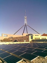 Solar panels on Parliament House roof