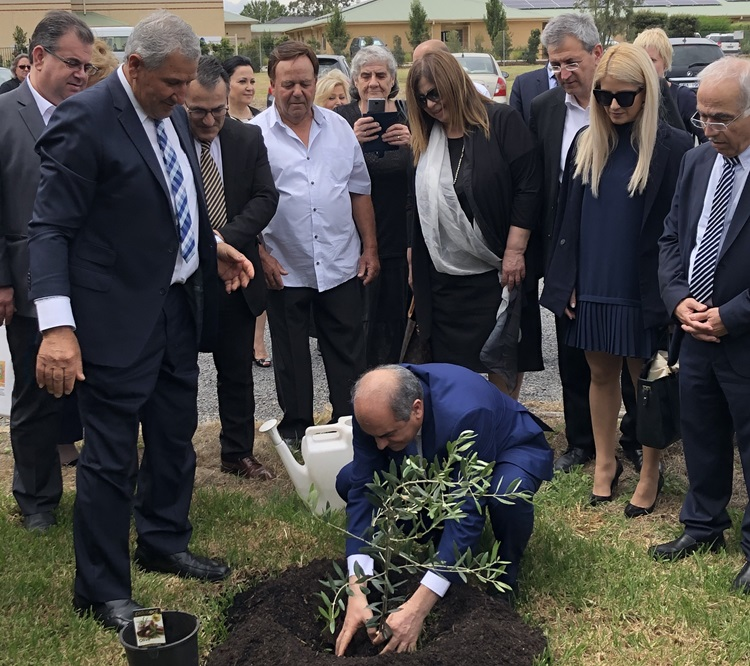 President of the House of Representatives in Cyprus, His Excellency Mr Dimitris Syllouris and his delegation planting a tree.