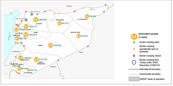 Syria—people in need and border crossings