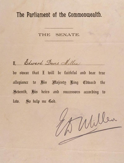 Oath taken by Senator Millen, 9 May 1901