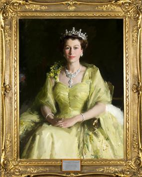 Her Majesty Queen Elizabeth II, 1954 by Sir William Dargie (1912–2003). Courtesy of Parliament House Art Collection Canberra, ACT.