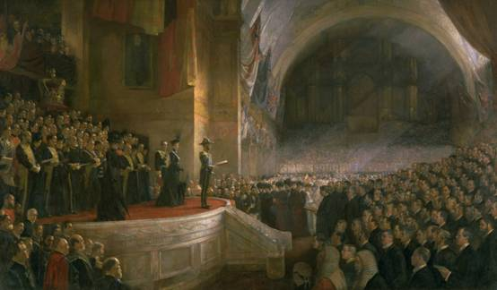 Opening of the First Parliament of the Commonwealth of Australia by HRH The Duke of Cornwall and York (later King George V), 9 May 1901, 1903 by Tom Roberts (1856–1931). Courtesy of Parliament House Art Collection Canberra, ACT.