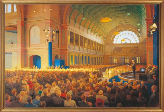 Centenary of Federation Commemorative Sitting of Federal Parliament, Royal Exhibition Building, Melbourne, 9 May 2001, 2003 by Robert Hannaford (1944–). Courtesy of Parliament House Art Collection Canberra, ACT.