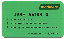 Figure 1: the fake Medicare card handed out by unions.
