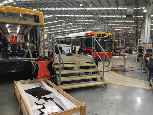 Photo 1: Electric buses being manufactured at Precision Buses, Edinburgh (SA)