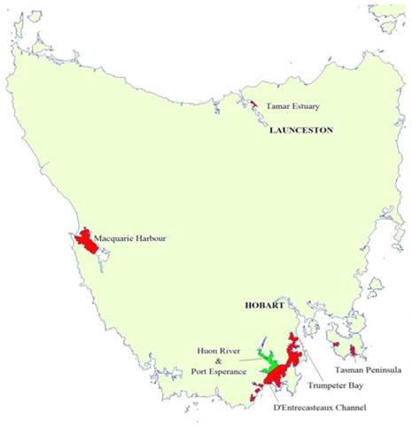 Figure 2.1: Marine lease areas in Tasmania