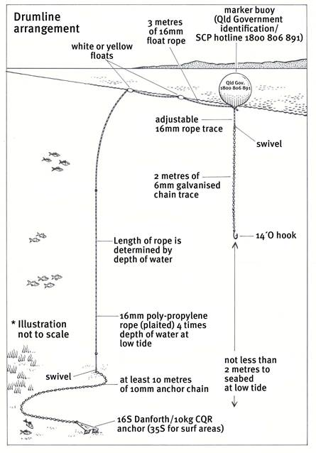 Figure 3.3: Use of drum lines under the Queensland Shark Control Program