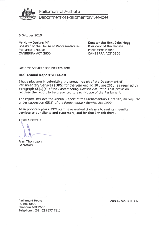 letters of transmittal  u2013 parliament of australia