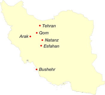 Main Iranian nuclear facilities map