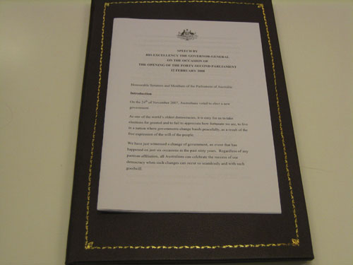 Copy of the Governor-General's opening speech