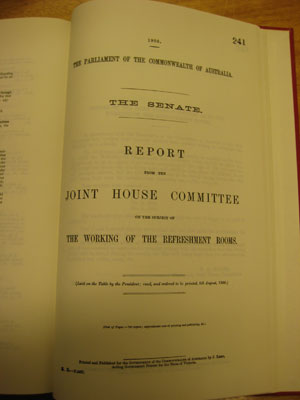 Report on the working of the refreshment rooms