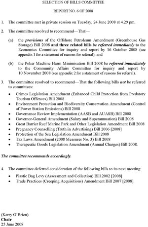 Selection of Bills Committee Report