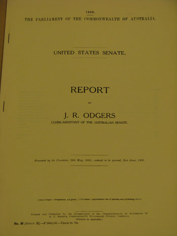 Report on the United States Senate by J.R. Odgers