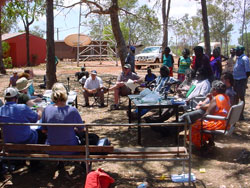 The Select Committee on Regional and Remote Indigenous Communities taking evidence from witnesses at Elcho Island, in northeast Arnhem Land, NT