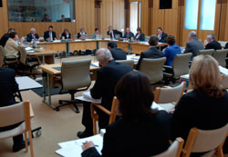 The Rural and Regional Affairs and Transport Legislation Committee taking evidence from witnesses in Parliament House (Photo courtesy of AUSPIC)