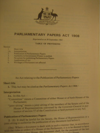 The Parliamentary Papers Act 1908
