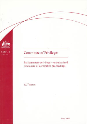 The 122nd Report by the Committee of Privileges