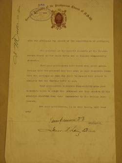 It was this petition from the Presbyterian Church of Australia in 1901 that led to the inclusion of a prayer at the commencement of each sitting day
