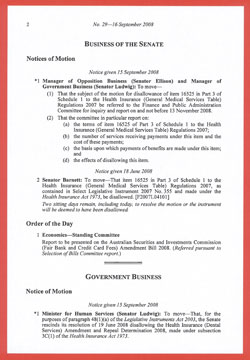 Business of the Senate items are listed ahead of Government Business in the Notice paper