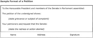 Sample format of a petition