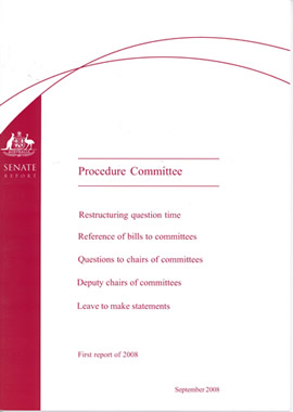 The Procedure Committee's First Report of 2008 which recommended that the Senate adopt the practice of granting leave for 'short' statements, timed to 1 or 2 minutes as the occasion required
