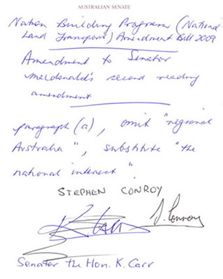 An amendment must be in writing and signed by the proposer. Some amendments, like this one, are done on the floor of the chamber and are handwritten