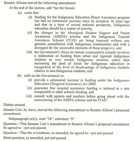 An extract from the Journals of the Senate showing an amendment moved to an amendment