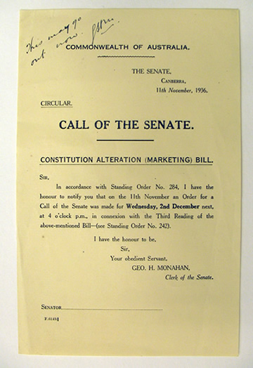 Notice of an order for a roll call, formerly known as a call of the Senate