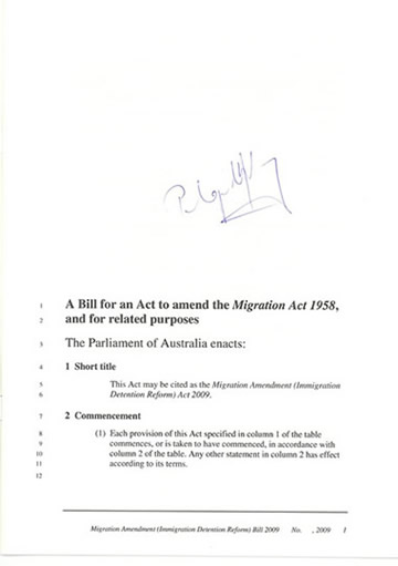 A senator introducing a bill presents a signed copy of it