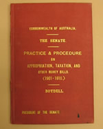 Boydell's small booklet on the powers of the Senate, the first of many scholarly writings by Senate clerks