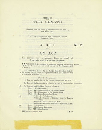 The Central Reserve Bank Bill 1930, the first government bill referred to a select committee with unhappy results for the government