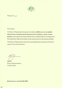 A message from the House of Representatives indicating that the House has disagreed with amendments made by the Senate to a bill which originated in the House