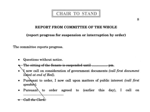 An example of a pro forma report from committee of the whole at a specified time (2 pm to allow Question Time to proceed in accordance with SO 57)