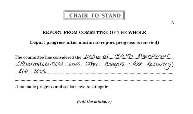 An example of a pro forma report from committee of the whole, reporting progress following a motion to that effect
